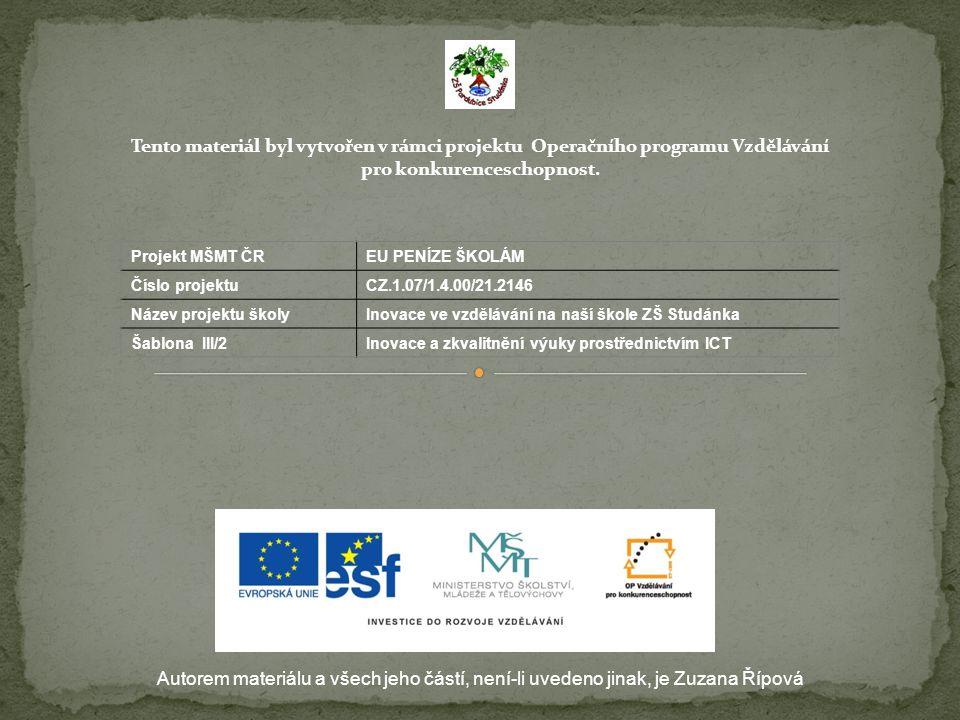 Autorem materiálu a všech jeho částí, není-li uvedeno jinak, je Zuzana Řípová Tento materiál byl vytvořen v rámci projektu Operačního programu Vzděláv