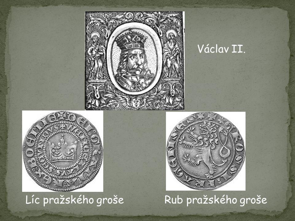 Líc pražského grošeRub pražského groše Václav II.