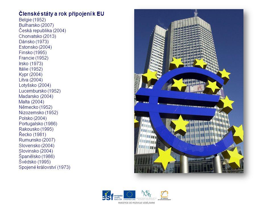 Členské státy a rok připojení k EU Belgie (1952) Bulharsko (2007) Česká republika (2004) Chorvatsko (2013) Dánsko (1973) Estonsko (2004) Finsko (1995)