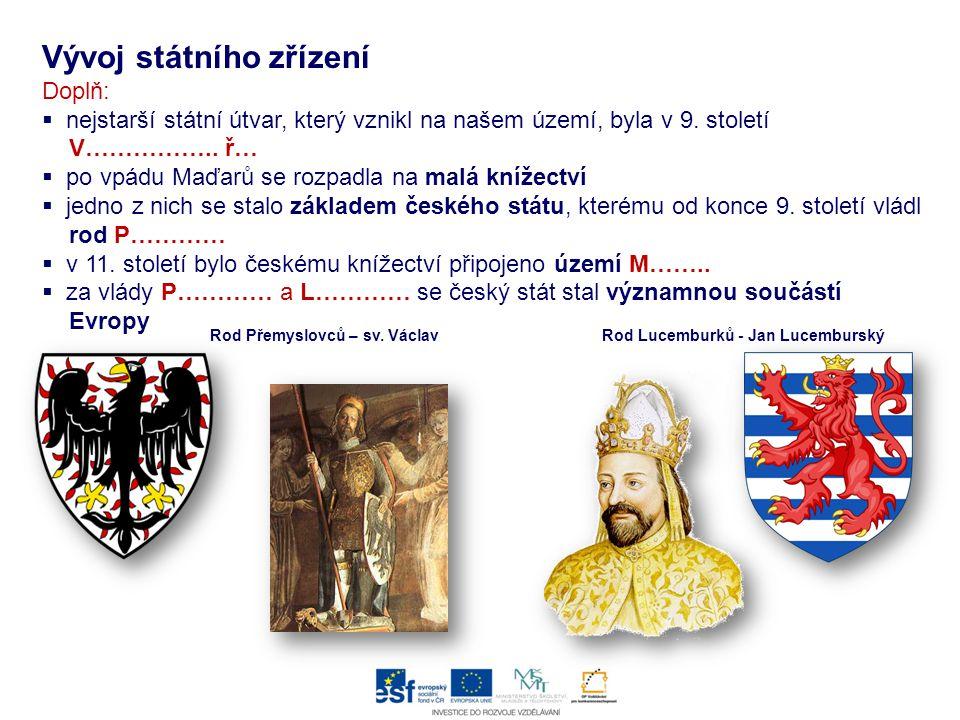 Vývoj státního zřízení Doplň:  nejstarší státní útvar, který vznikl na našem území, byla v 9. století V…………….. ř…  po vpádu Maďarů se rozpadla na ma