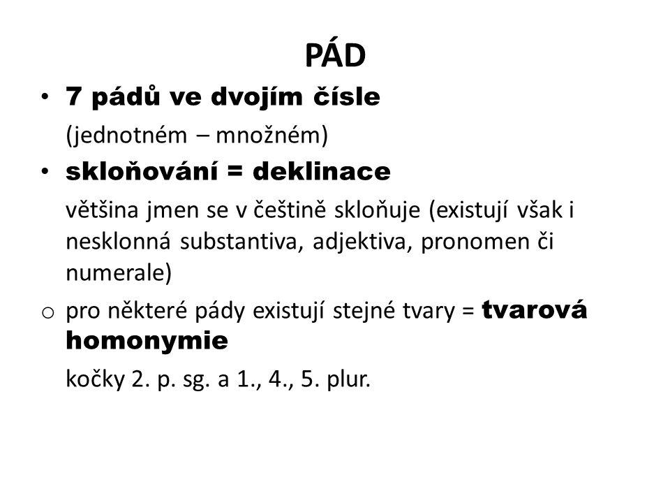 PÁD 7 pádů ve dvojím čísle (jednotném – množném) skloňování = deklinace většina jmen se v češtině skloňuje (existují však i nesklonná substantiva, adjektiva, pronomen či numerale) o pro některé pády existují stejné tvary = tvarová homonymie kočky 2.