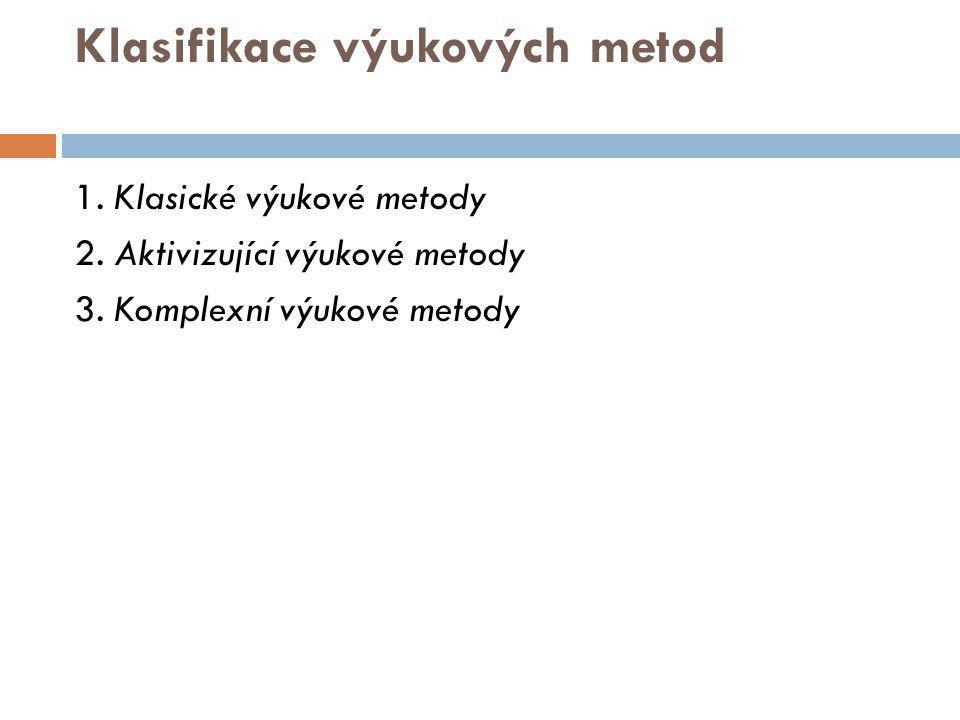 Klasifikace výukových metod 1. Klasické výukové metody 2. Aktivizující výukové metody 3. Komplexní výukové metody
