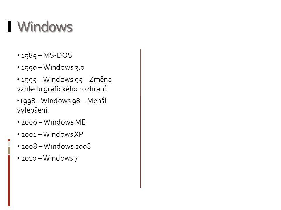 Windows 1985 – MS-DOS 1990 – Windows 3.0 1995 – Windows 95 – Změna vzhledu grafického rozhraní. 1998 - Windows 98 – Menší vylepšení. 2000 – Windows ME