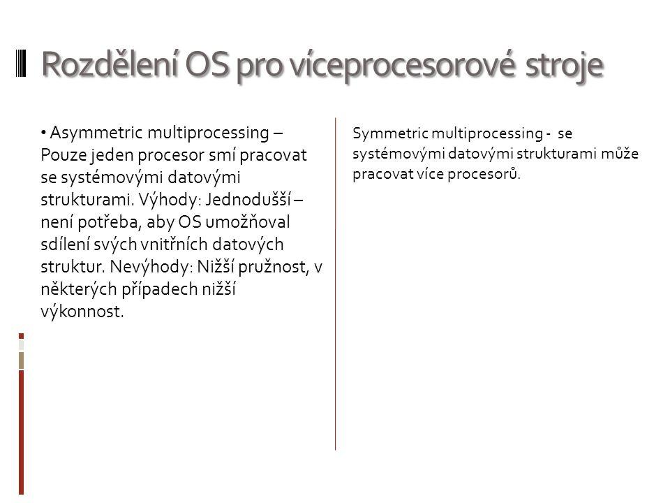 Rozdělení OS pro víceprocesorové stroje Asymmetric multiprocessing – Pouze jeden procesor smí pracovat se systémovými datovými strukturami. Výhody: Je