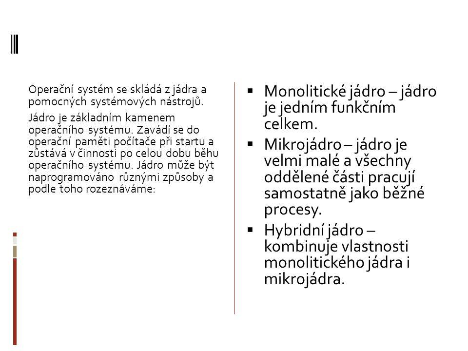 Operační systém se skládá z jádra a pomocných systémových nástrojů.