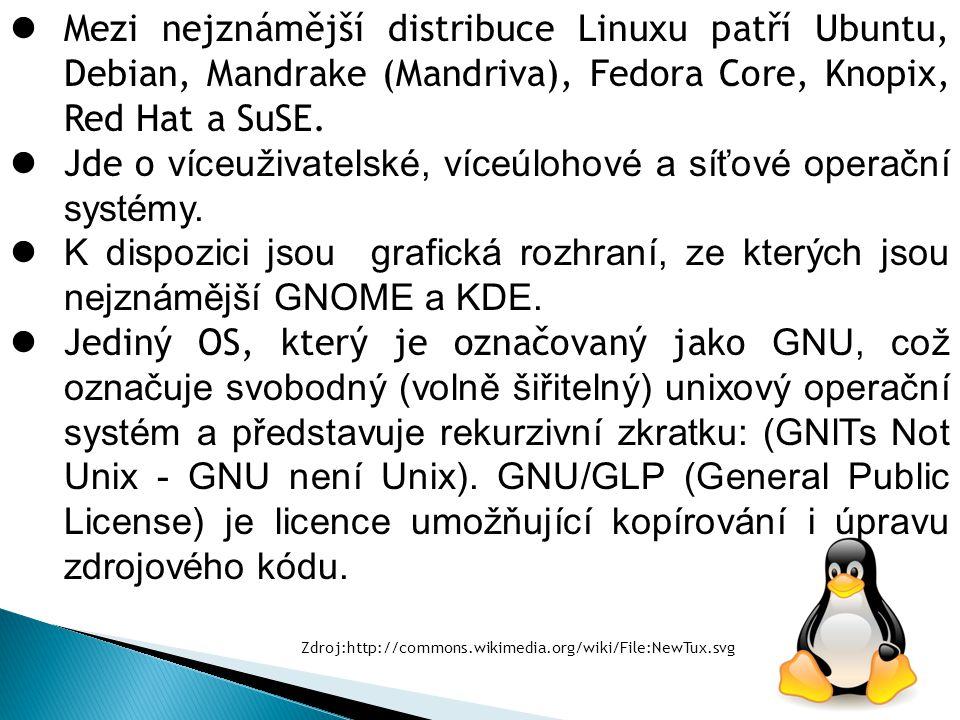 Mezi nejznámější distribuce Linuxu patří Ubuntu, Debian, Mandrake (Mandriva), Fedora Core, Knopix, Red Hat a SuSE. Jde o víceuživatelské, víceúlohové