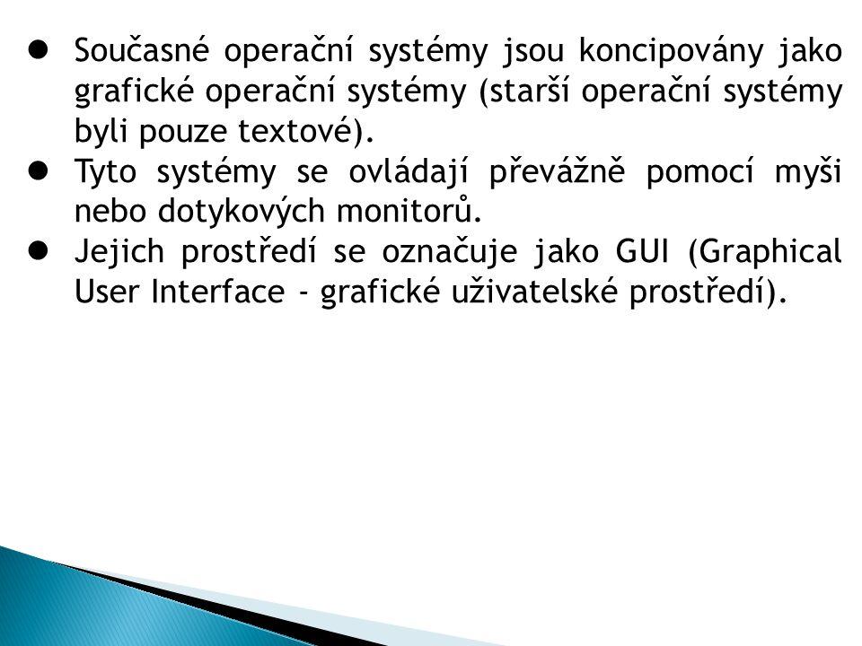 Současné operační systémy jsou koncipovány jako grafické operační systémy (starší operační systémy byli pouze textové). Tyto systémy se ovládají převá