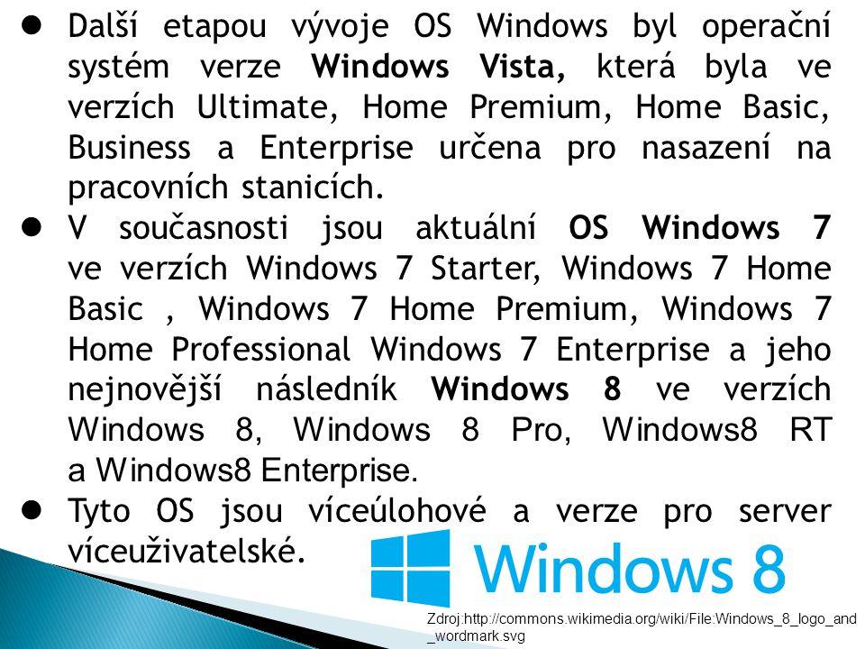 Další etapou vývoje OS Windows byl operační systém verze Windows Vista, která byla ve verzích Ultimate, Home Premium, Home Basic, Business a Enterpris