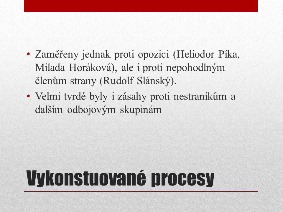 Vykonstuované procesy Zaměřeny jednak proti opozici (Heliodor Píka, Milada Horáková), ale i proti nepohodlným členům strany (Rudolf Slánský). Velmi tv