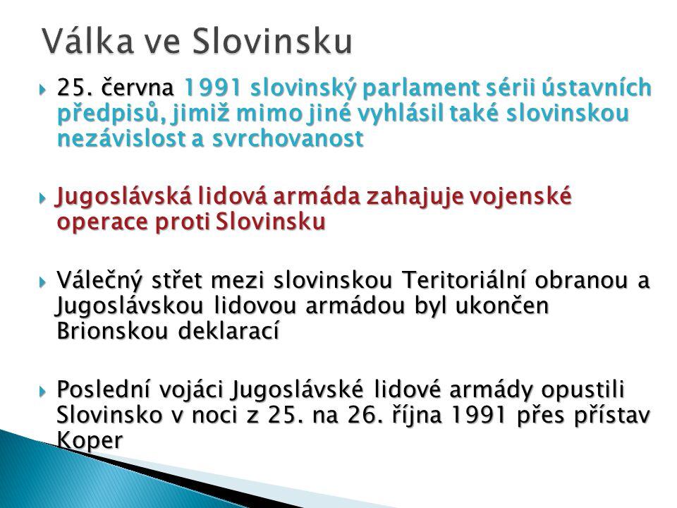  25. června 1991 slovinský parlament sérii ústavních předpisů, jimiž mimo jiné vyhlásil také slovinskou nezávislost a svrchovanost  Jugoslávská lido