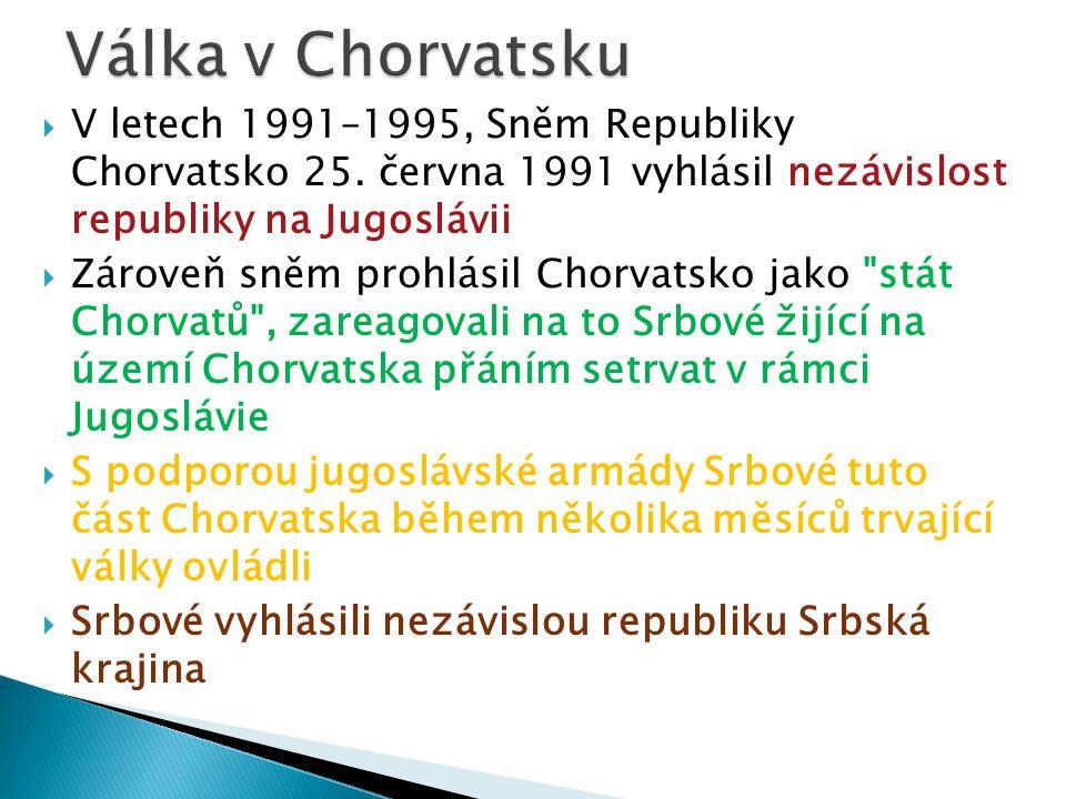  V letech 1991–1995, Sněm Republiky Chorvatsko 25. června 1991 vyhlásil nezávislost republiky na Jugoslávii  Zároveň sněm prohlásil Chorvatsko jako