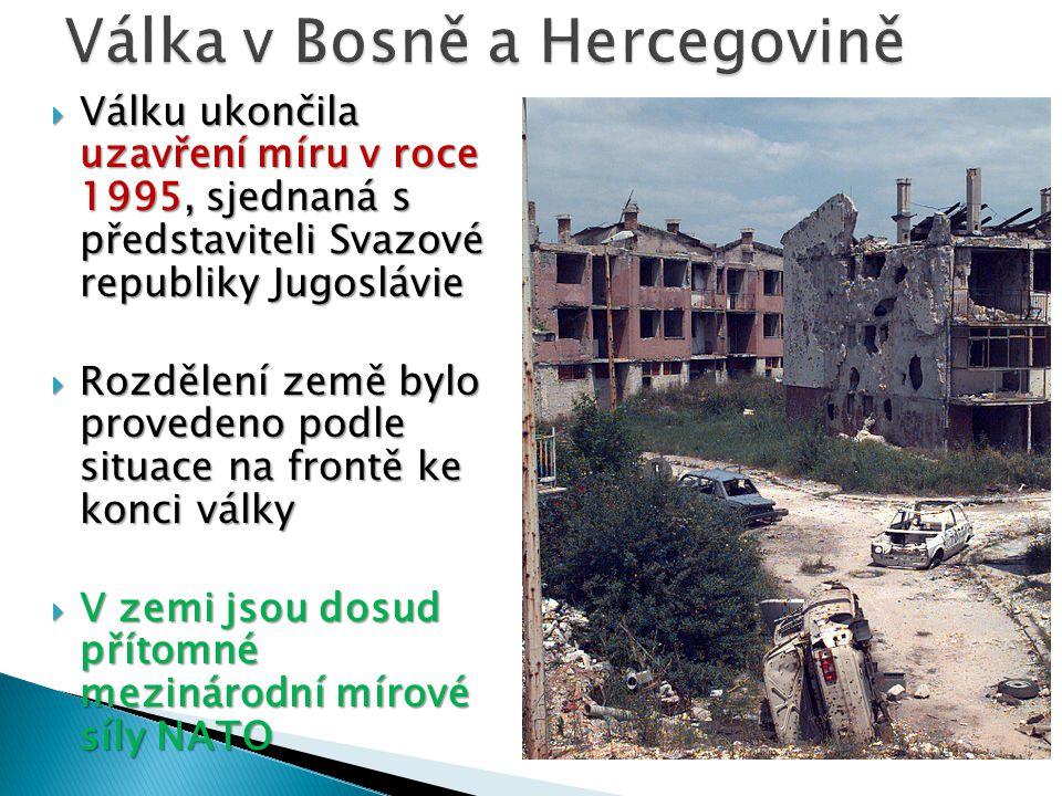  Válku ukončila uzavření míru v roce 1995, sjednaná s představiteli Svazové republiky Jugoslávie  Rozdělení země bylo provedeno podle situace na fro