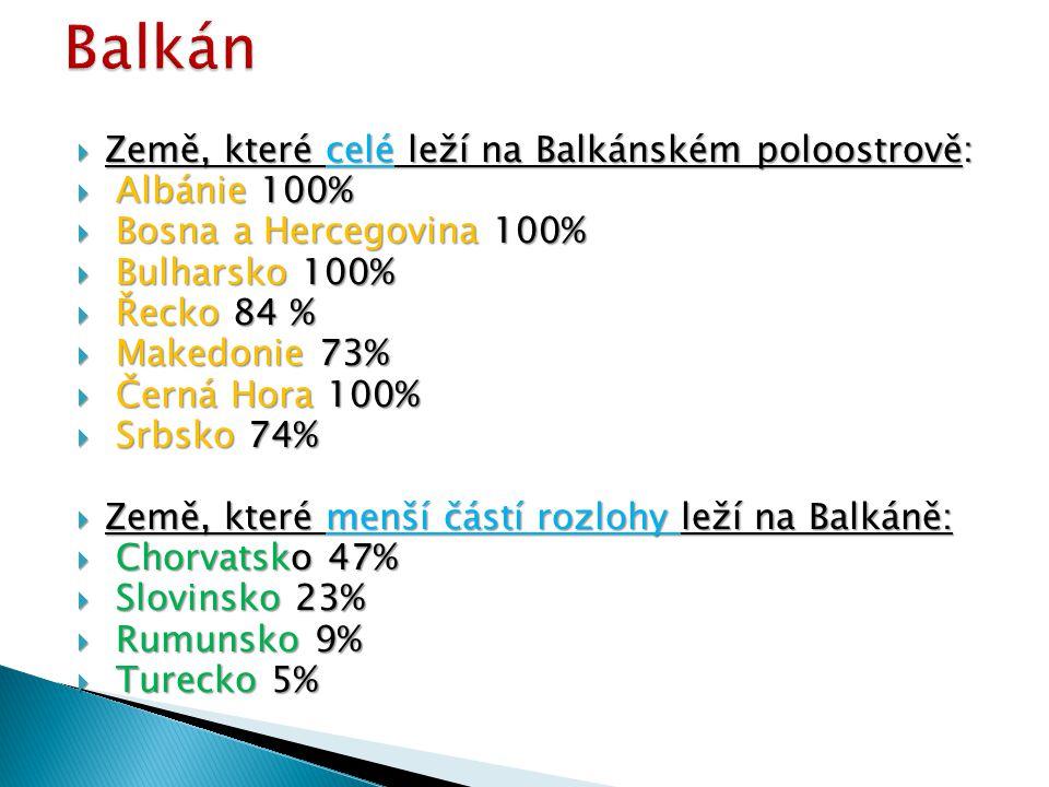  Země, které celé leží na Balkánském poloostrově:  Albánie 100%  Bosna a Hercegovina 100%  Bulharsko 100%  Řecko 84 %  Makedonie 73%  Makedonie