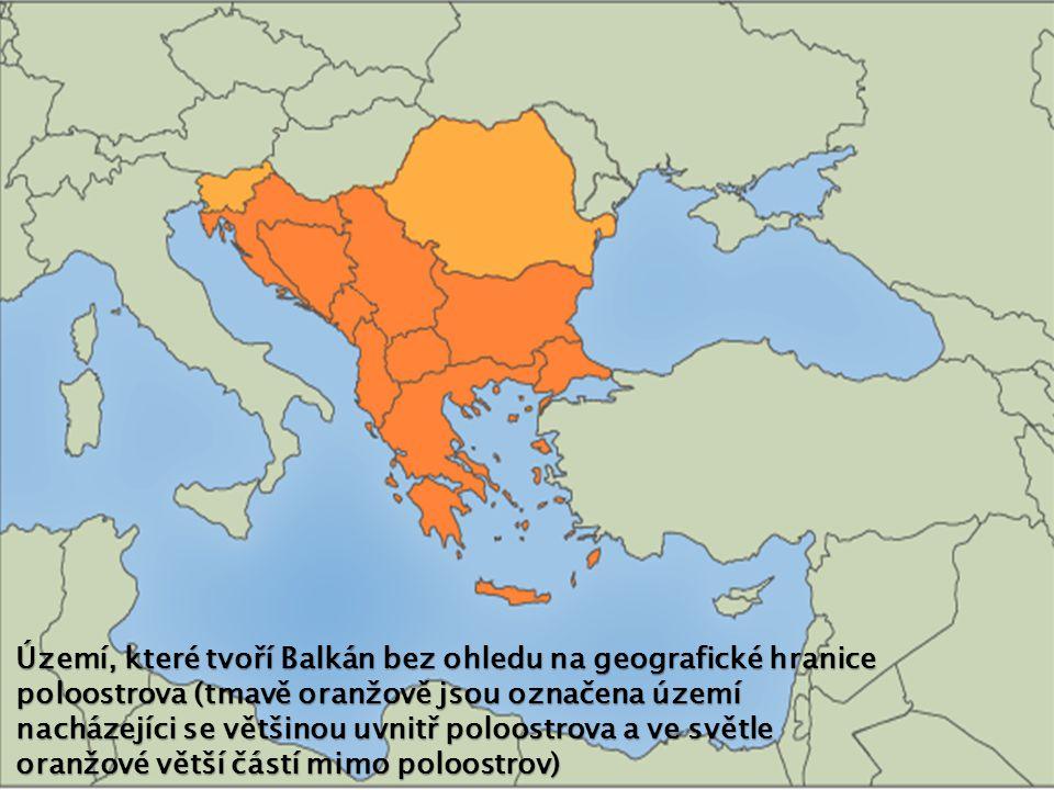 Území, které tvoří Balkán bez ohledu na geografické hranice poloostrova (tmavě oranžově jsou označena území nacházejíci se většinou uvnitř poloostrova