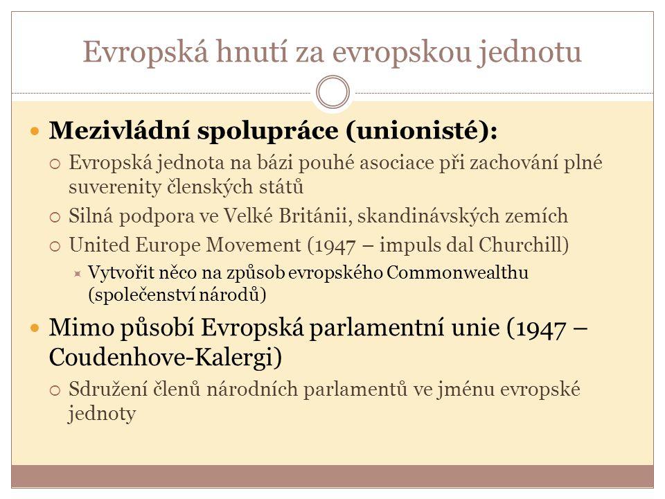 Evropská hnutí za evropskou jednotu Mezivládní spolupráce (unionisté):  Evropská jednota na bázi pouhé asociace při zachování plné suverenity členských států  Silná podpora ve Velké Británii, skandinávských zemích  United Europe Movement (1947 – impuls dal Churchill)  Vytvořit něco na způsob evropského Commonwealthu (společenství národů) Mimo působí Evropská parlamentní unie (1947 – Coudenhove-Kalergi)  Sdružení členů národních parlamentů ve jménu evropské jednoty