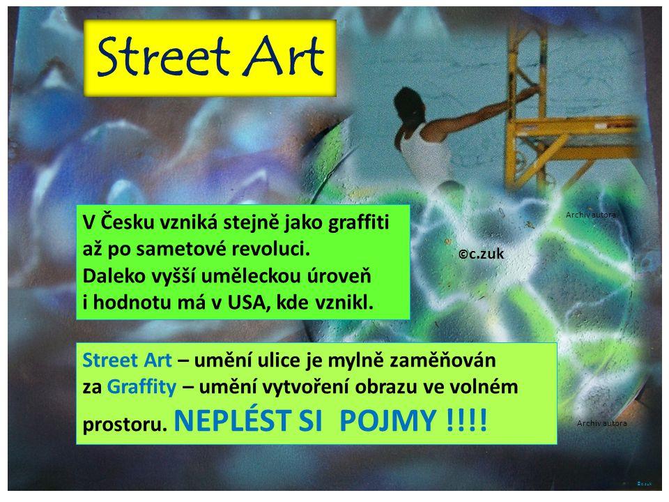 ©c.zuk V Česku vzniká stejně jako graffiti až po sametové revoluci. Daleko vyšší uměleckou úroveň i hodnotu má v USA, kde vznikl. Street Art – umění u