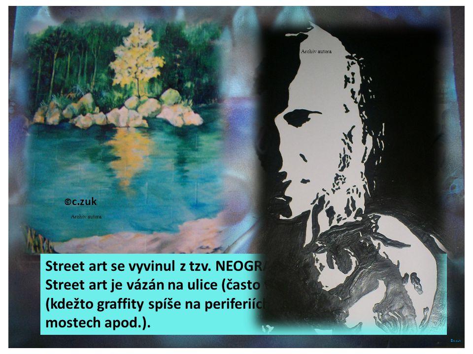 ©c.zuk Street art se vyvinul z tzv. NEOGRAFFITY ve 20. století. Street art je vázán na ulice (často ty nejfrekventovanější. (kdežto graffity spíše na