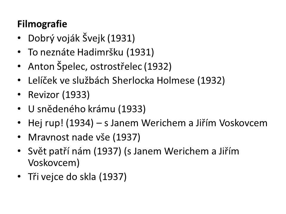 Filmografie Dobrý voják Švejk (1931) To neznáte Hadimršku (1931) Anton Špelec, ostrostřelec (1932) Lelíček ve službách Sherlocka Holmese (1932) Revizo