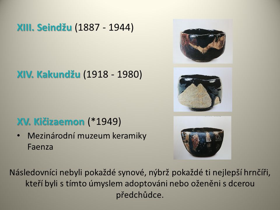 XIII. Seindžu XIII. Seindžu (1887 - 1944) XIV. Kakundžu XIV. Kakundžu (1918 - 1980) XV. Kičizaemon XV. Kičizaemon (*1949) Mezinárodní muzeum keramiky