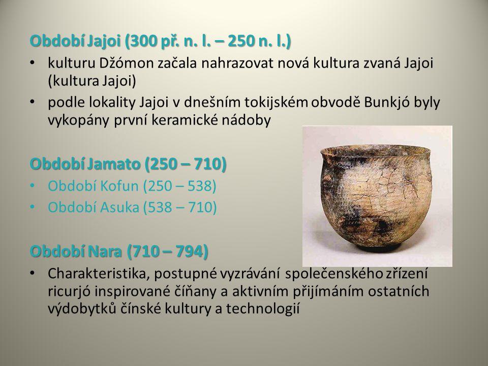 Období Jajoi (300 př. n. l. – 250 n. l.) kulturu Džómon začala nahrazovat nová kultura zvaná Jajoi (kultura Jajoi) podle lokality Jajoi v dnešním toki