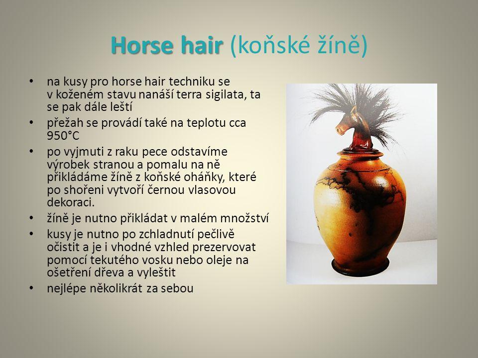 Horse hair Horse hair (koňské žíně) na kusy pro horse hair techniku se v koženém stavu nanáší terra sigilata, ta se pak dále leští přežah se provádí také na teplotu cca 950°C po vyjmuti z raku pece odstavíme výrobek stranou a pomalu na ně přikládáme žíně z koňské oháňky, které po shořeni vytvoří černou vlasovou dekoraci.