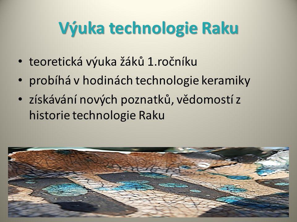 Výuka technologie Raku teoretická výuka žáků 1.ročníku probíhá v hodinách technologie keramiky získávání nových poznatků, vědomostí z historie technologie Raku