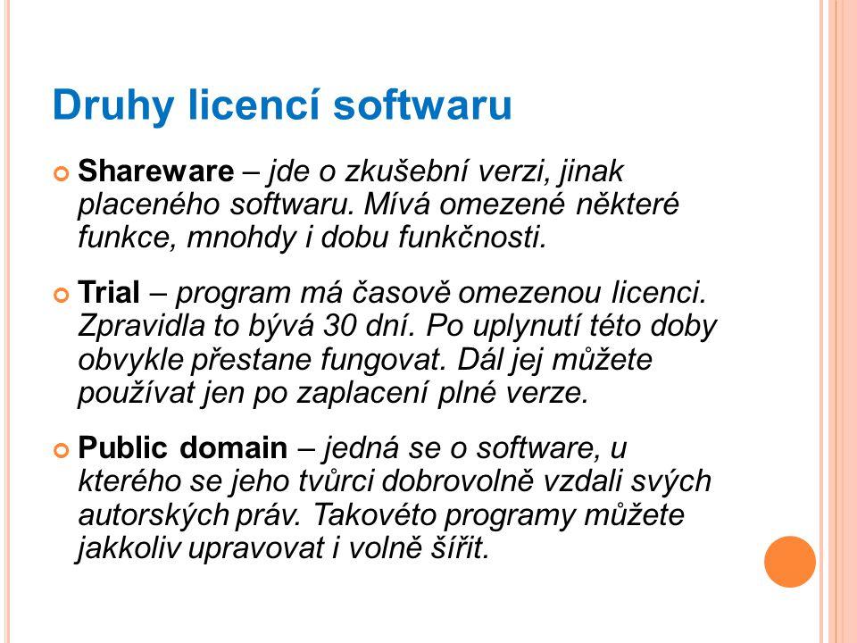 Druhy licencí softwaru Shareware – jde o zkušební verzi, jinak placeného softwaru. Mívá omezené některé funkce, mnohdy i dobu funkčnosti. Trial – prog