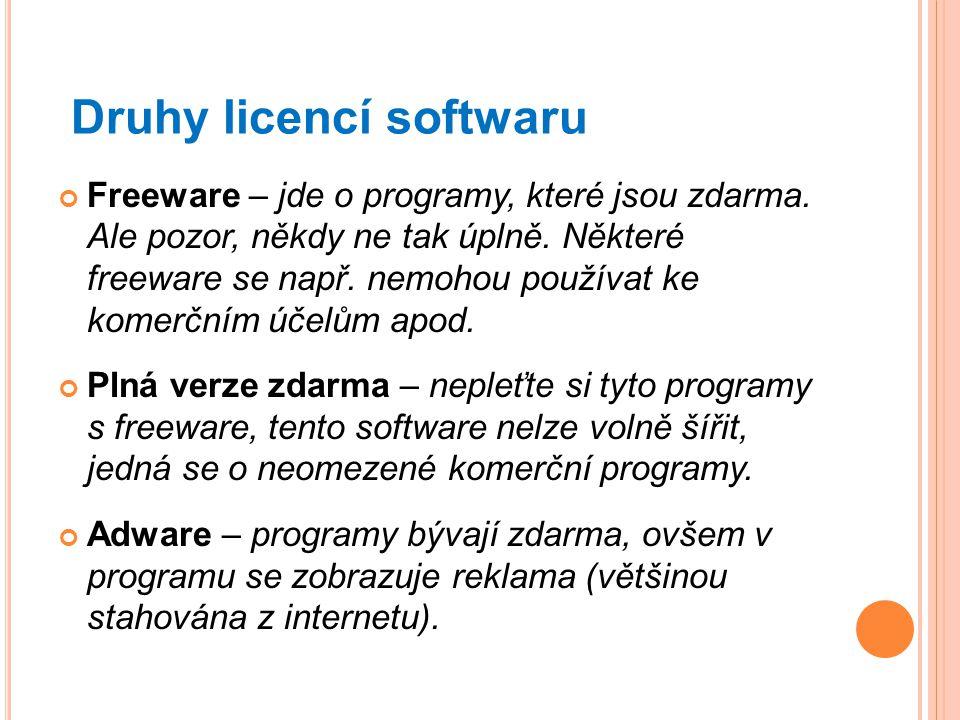 Druhy licencí softwaru Freeware – jde o programy, které jsou zdarma. Ale pozor, někdy ne tak úplně. Některé freeware se např. nemohou používat ke kome