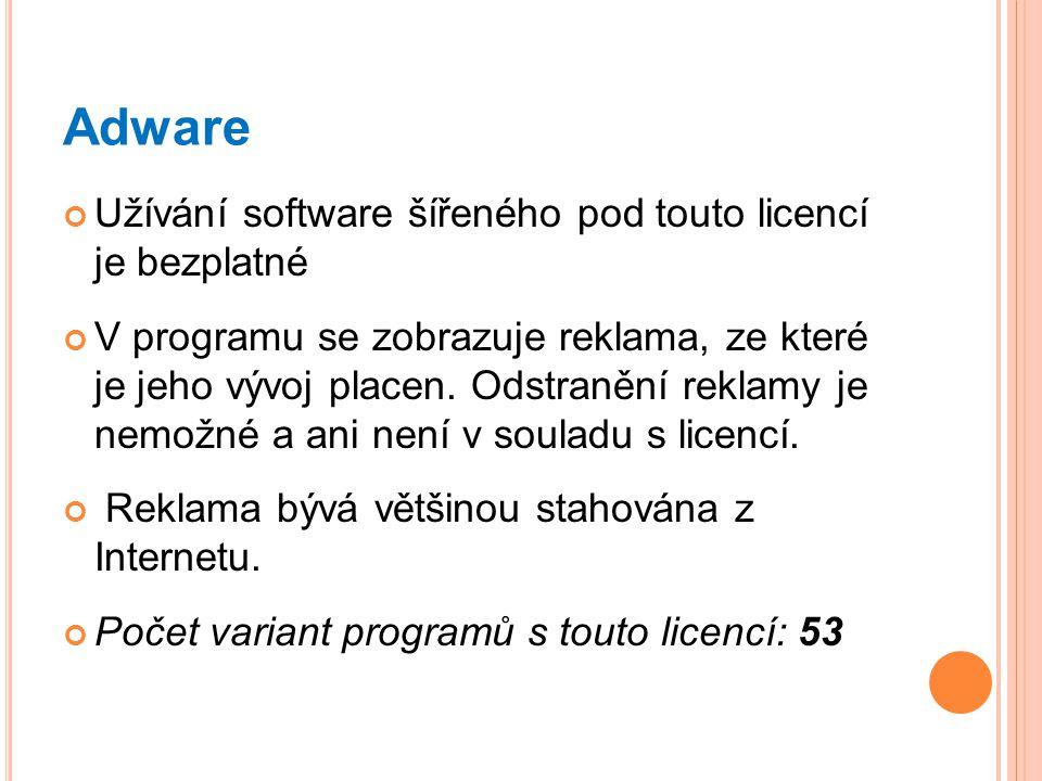 Adware Užívání software šířeného pod touto licencí je bezplatné V programu se zobrazuje reklama, ze které je jeho vývoj placen. Odstranění reklamy je