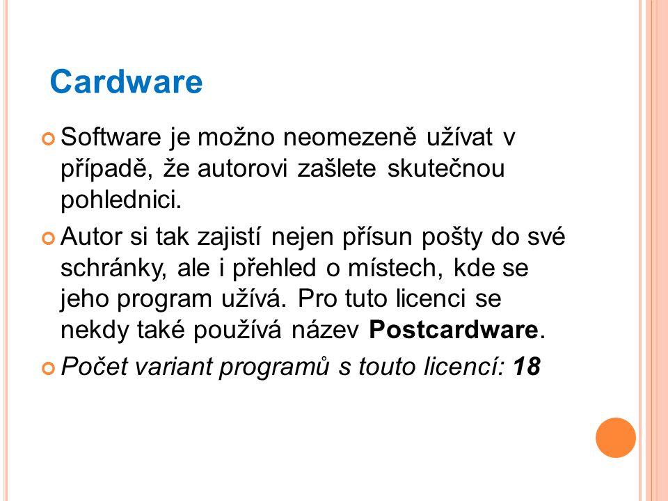 Cardware Software je možno neomezeně užívat v případě, že autorovi zašlete skutečnou pohlednici. Autor si tak zajistí nejen přísun pošty do své schrán