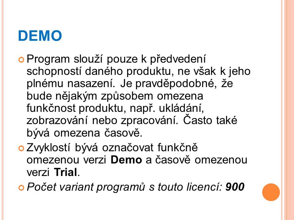DEMO Program slouží pouze k předvedení schopností daného produktu, ne však k jeho plnému nasazení. Je pravděpodobné, že bude nějakým způsobem omezena