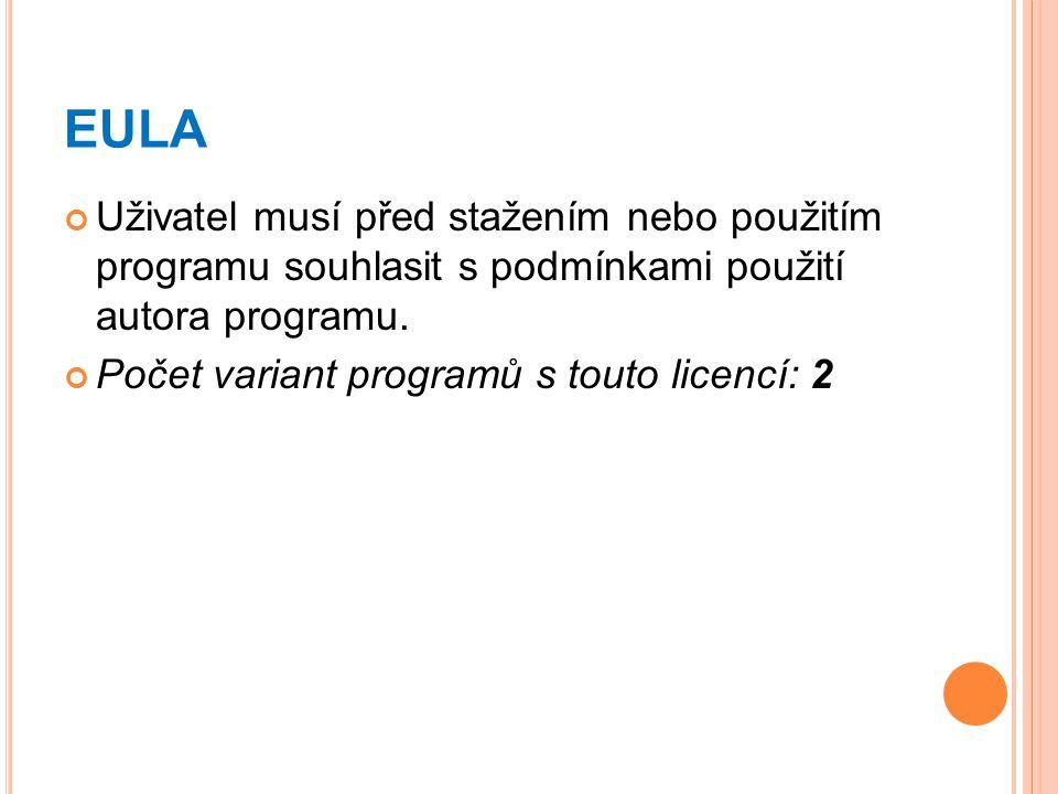 EULA Uživatel musí před stažením nebo použitím programu souhlasit s podmínkami použití autora programu. Počet variant programů s touto licencí: 2