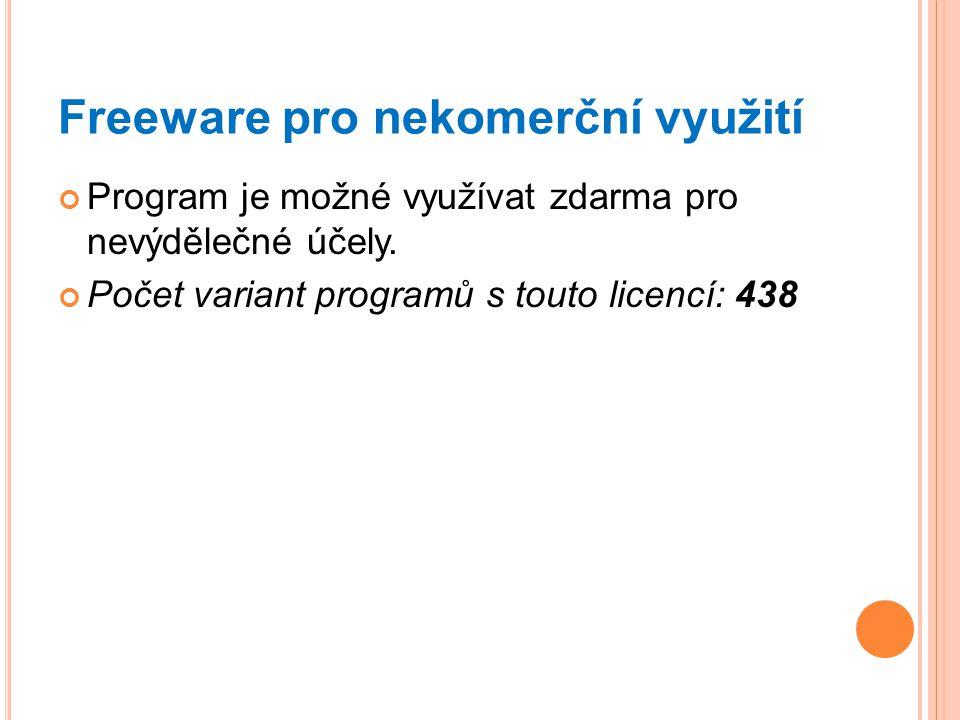 Freeware pro nekomerční využití Program je možné využívat zdarma pro nevýdělečné účely. Počet variant programů s touto licencí: 438