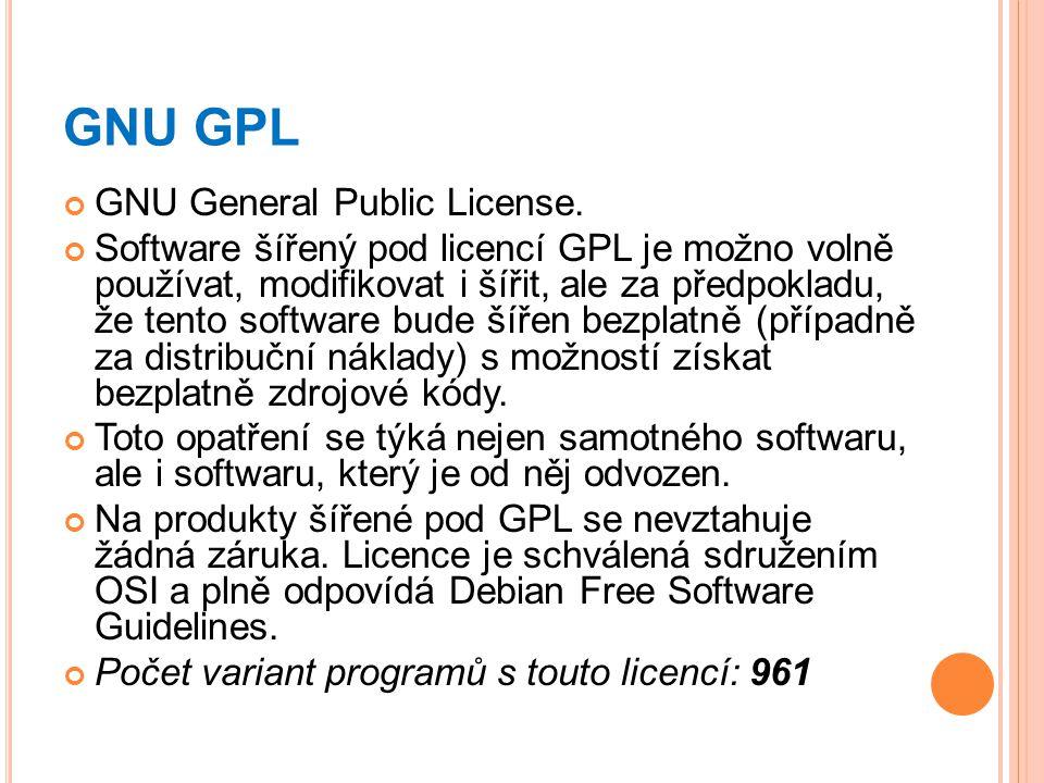 GNU GPL GNU General Public License. Software šířený pod licencí GPL je možno volně používat, modifikovat i šířit, ale za předpokladu, že tento softwar