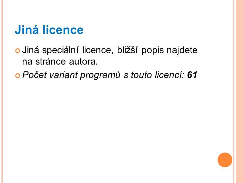 Jiná licence Jiná speciální licence, bližší popis najdete na stránce autora. Počet variant programů s touto licencí: 61