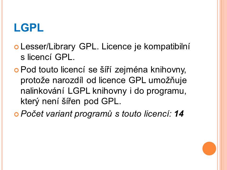LGPL Lesser/Library GPL. Licence je kompatibilní s licencí GPL. Pod touto licencí se šíří zejména knihovny, protože narozdíl od licence GPL umožňuje n