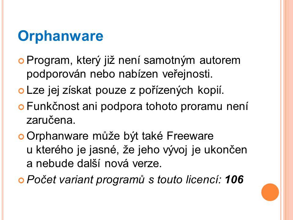 Orphanware Program, který již není samotným autorem podporován nebo nabízen veřejnosti. Lze jej získat pouze z pořízených kopií. Funkčnost ani podpora