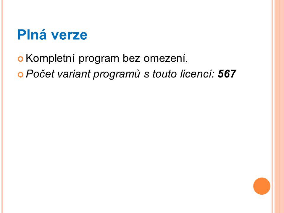 Plná verze Kompletní program bez omezení. Počet variant programů s touto licencí: 567
