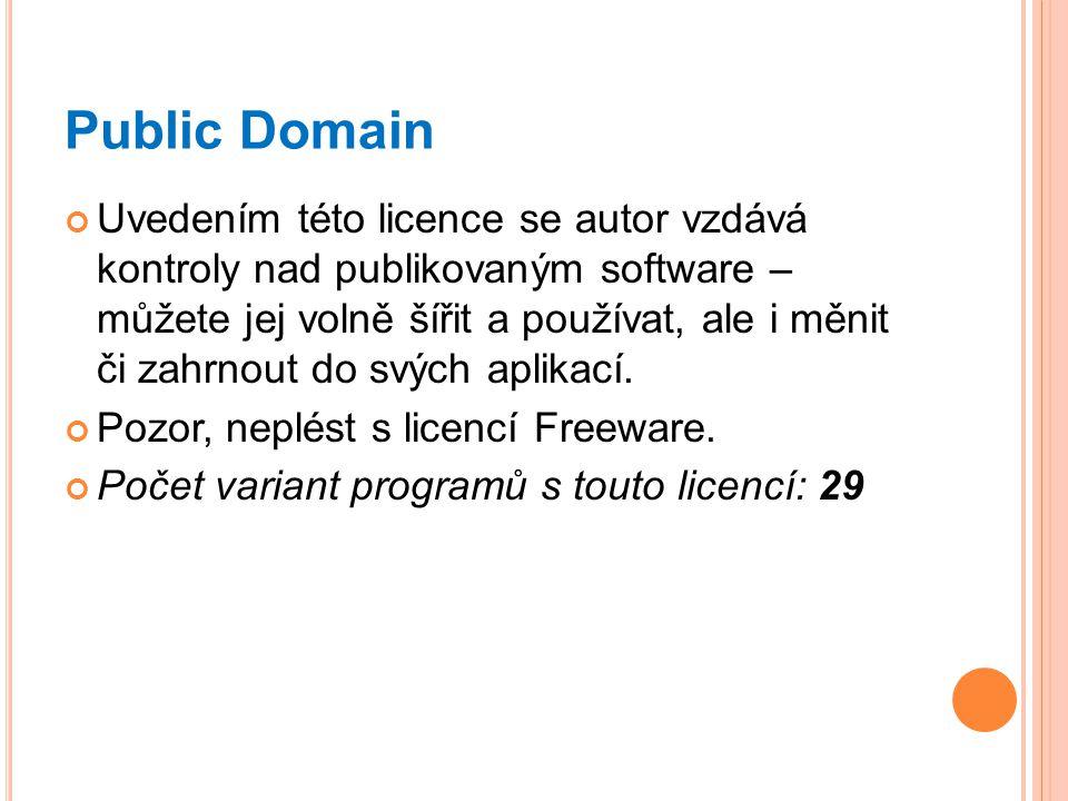 Public Domain Uvedením této licence se autor vzdává kontroly nad publikovaným software – můžete jej volně šířit a používat, ale i měnit či zahrnout do