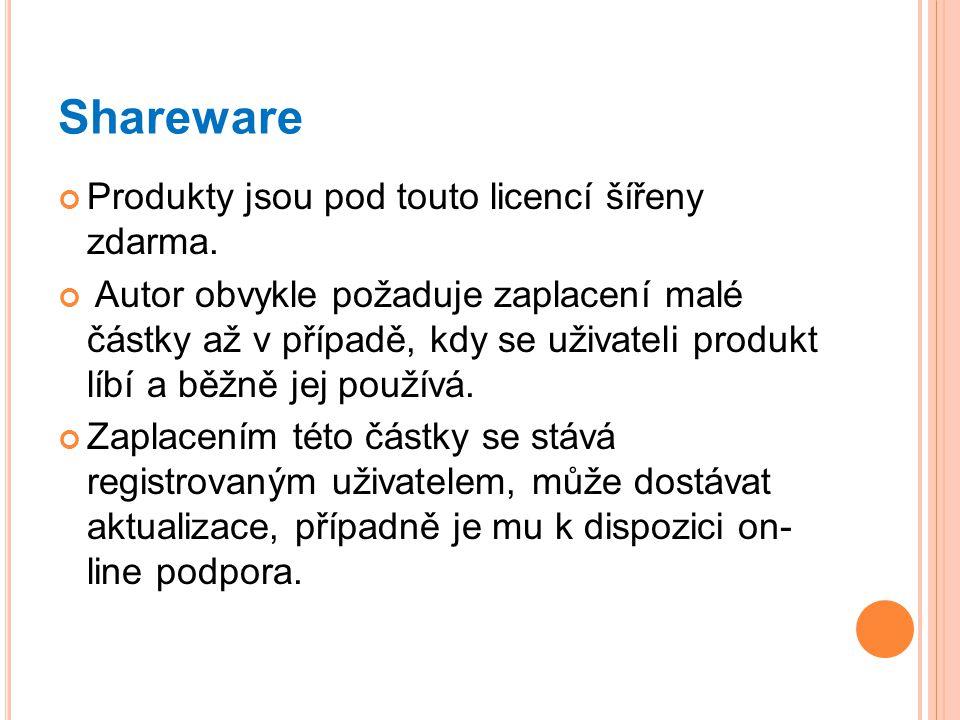 Shareware Produkty jsou pod touto licencí šířeny zdarma. Autor obvykle požaduje zaplacení malé částky až v případě, kdy se uživateli produkt líbí a bě