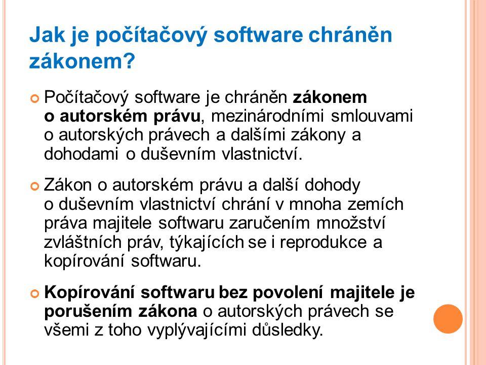 Jak je počítačový software chráněn zákonem? Počítačový software je chráněn zákonem o autorském právu, mezinárodními smlouvami o autorských právech a d