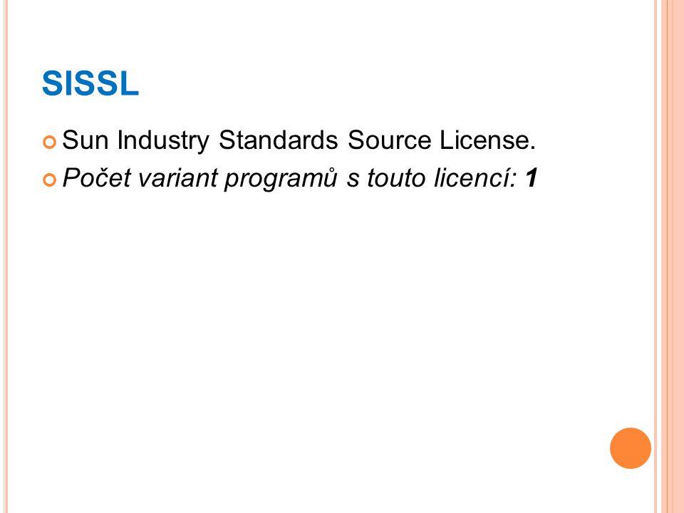 SISSL Sun Industry Standards Source License. Počet variant programů s touto licencí: 1