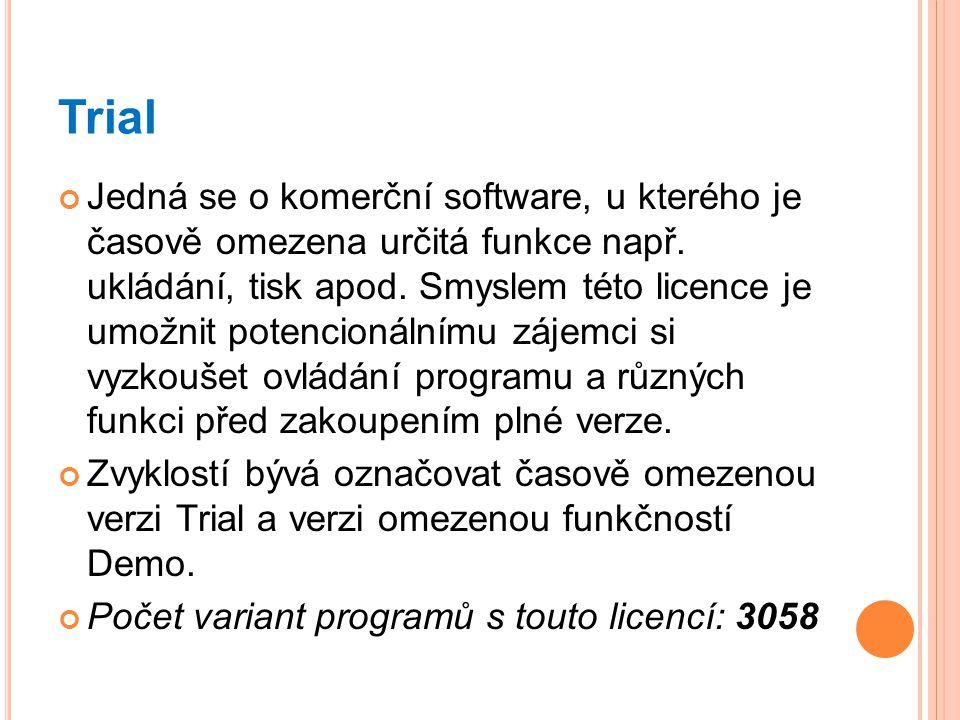 Trial Jedná se o komerční software, u kterého je časově omezena určitá funkce např. ukládání, tisk apod. Smyslem této licence je umožnit potencionální