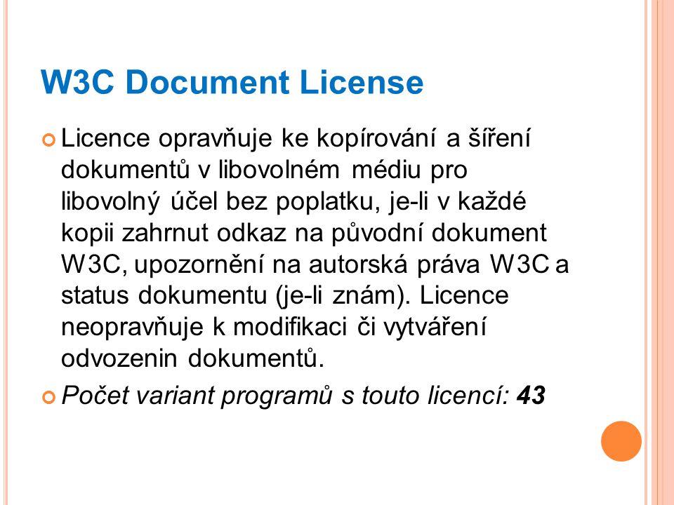 W3C Document License Licence opravňuje ke kopírování a šíření dokumentů v libovolném médiu pro libovolný účel bez poplatku, je-li v každé kopii zahrnu