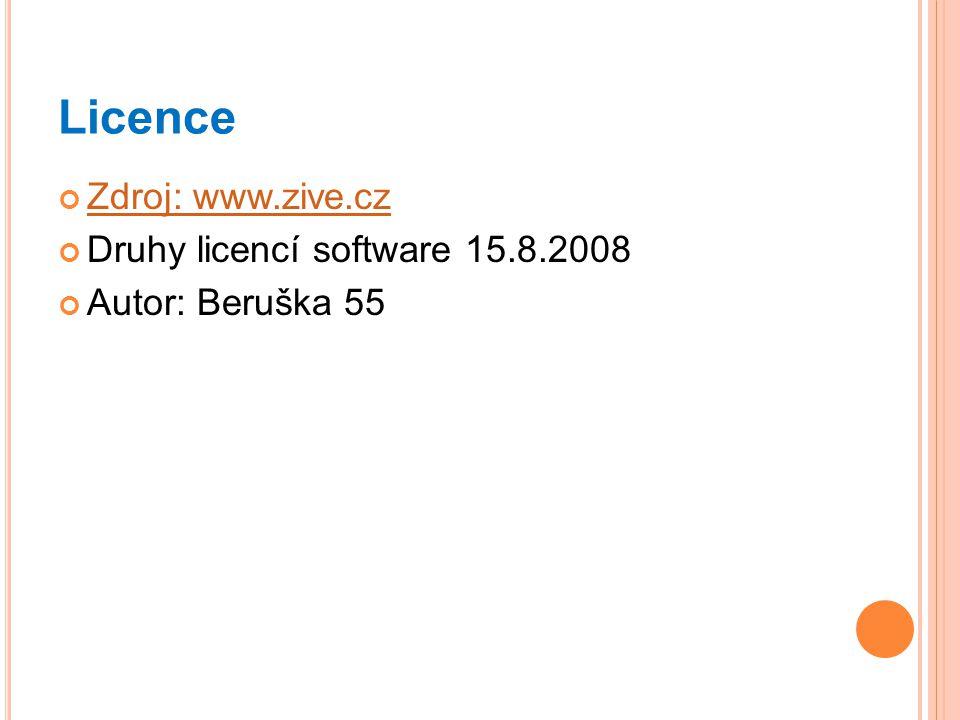 Licence Zdroj: www.zive.cz Druhy licencí software 15.8.2008 Autor: Beruška 55