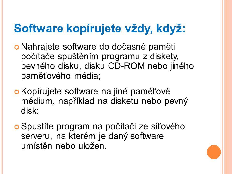 Software kopírujete vždy, když: Nahrajete software do dočasné paměti počítače spuštěním programu z diskety, pevného disku, disku CD-ROM nebo jiného pa