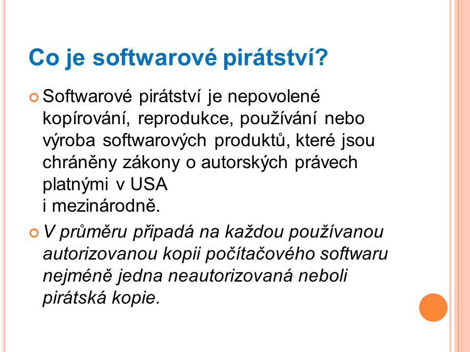 Co je softwarové pirátství? Softwarové pirátství je nepovolené kopírování, reprodukce, používání nebo výroba softwarových produktů, které jsou chráněn