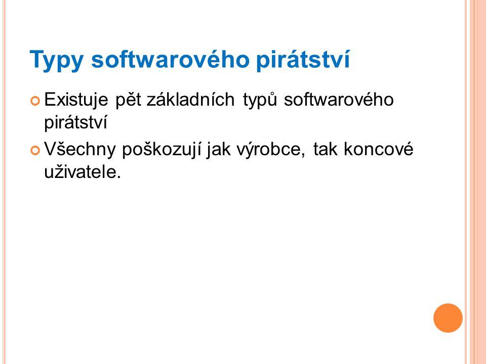 Typy softwarového pirátství Existuje pět základních typů softwarového pirátství Všechny poškozují jak výrobce, tak koncové uživatele.