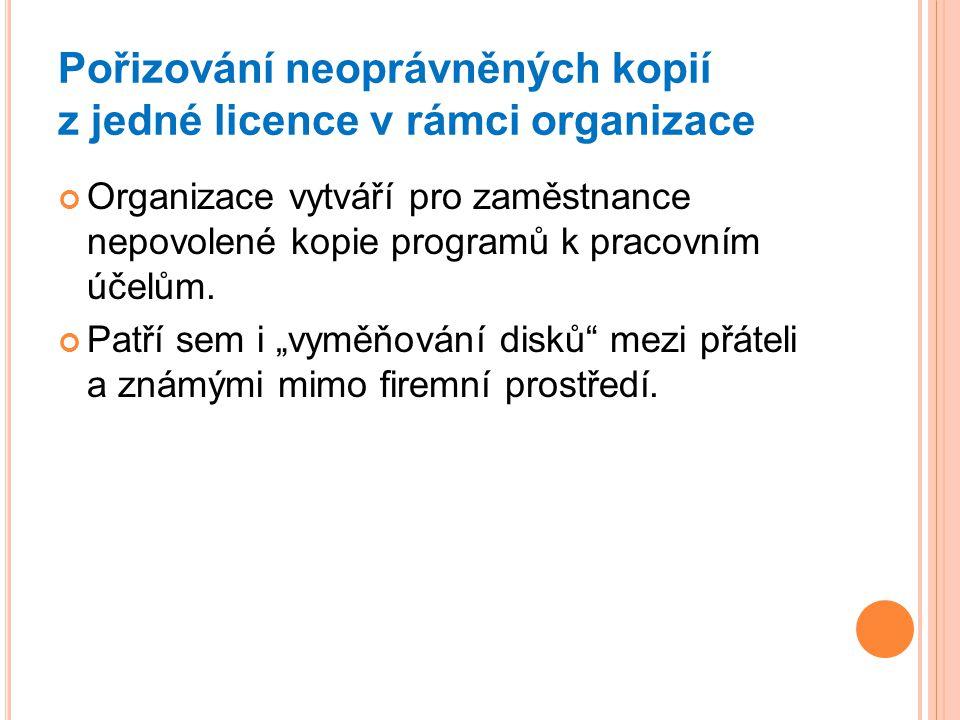 Pořizování neoprávněných kopií z jedné licence v rámci organizace Organizace vytváří pro zaměstnance nepovolené kopie programů k pracovním účelům. Pat
