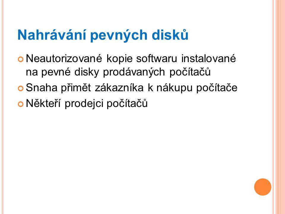 Nahrávání pevných disků Neautorizované kopie softwaru instalované na pevné disky prodávaných počítačů Snaha přimět zákazníka k nákupu počítače Někteří